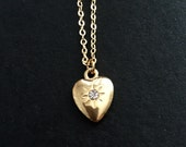 Gold vintage heart charm crustal rhinsteon necklace
