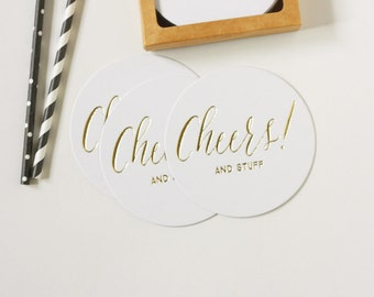 Foil Coasters - Gold Foil Stamped - Cheers and Stuff - cocktail party - holiday party  - set of 10 - Cheers