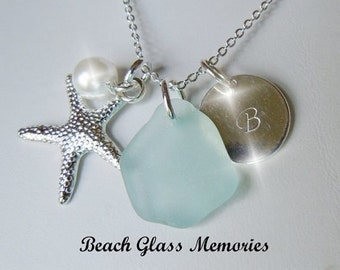 Aqua Sea Glass Personalized Necklace Beach Sea Glass Jewelry Monogrammed Initial Necklace Hand Stamped