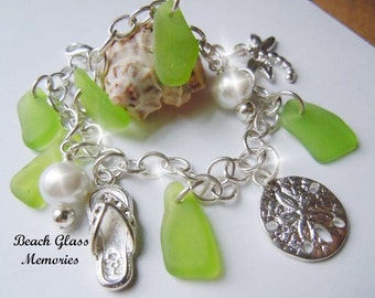 Sterling Silver Sea Glass Bracelet,Shades of Lime Green Sea Beach Glass Jewelry