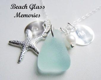 Beach Glass Personalized Necklace Initials Monogrammed Necklace Aqua Starfish Jewelry Necklace