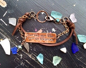 Fleetwood Mac Copper and leather bracelet ~ Bohemian Stevie Nicks style ~ Songbird ~ for you the sun will be shining ~ metal stamped by hand