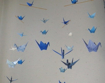"""Mix Sized Crane Mobile - Peace and Serenity - 22 cranes folded from 2"""" to 6"""" Solid and Patterned in Blue Shades, Home Decor, Nursery Decor"""