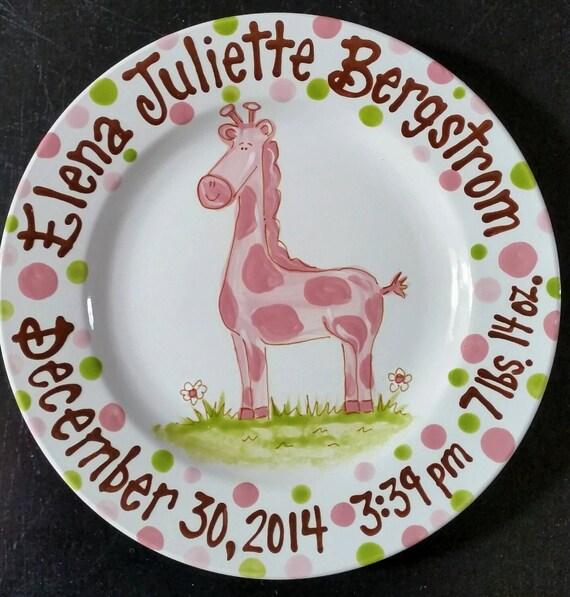 Pretty Pink Giraffe  - Birth Announcement Hand Painted Baby Plate