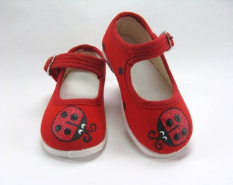 Ladybug Shoes, Red Mary Jane's, Ladybug Theme Birthday Party Outfit, Ladybird or Lady Beetle, Hand Painted for Baby and Toddler.