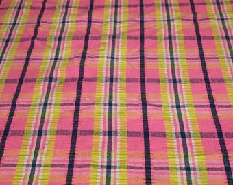 vintage 60s plaid seersucker fabric in pink, yellow, navy and white, extra wide, 1 yard, 2 available priced PER YARD