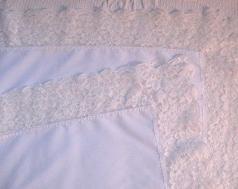 lace tablecloth . Square White Tablecloth .  Wide Lace Trim .  White Polyester Tablecloth