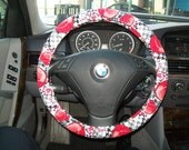 Ball Ornament Christmas Steering Wheel Cover and matching Wristlet Set