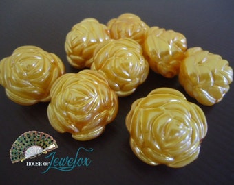 Big Chunky Flower Pearl Acrylic Beads, ORANGE, 25mm - 9x