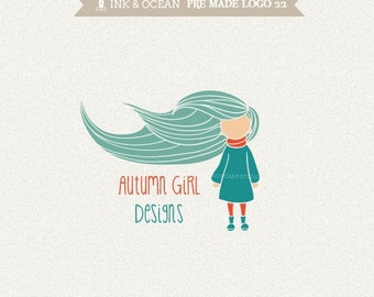 Boutique premade logo design for your business - cute girl in any colour of your choice