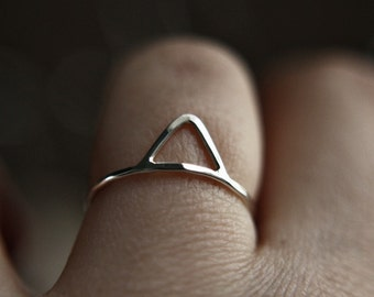 Triangle stacking ring - stackable ring - hammered ring - simple band - skinny stacking ring - minimalist - thumb ring