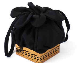 Vintage 1950s Handbag Black Twill Box Drawstring with Filigree Metal Base