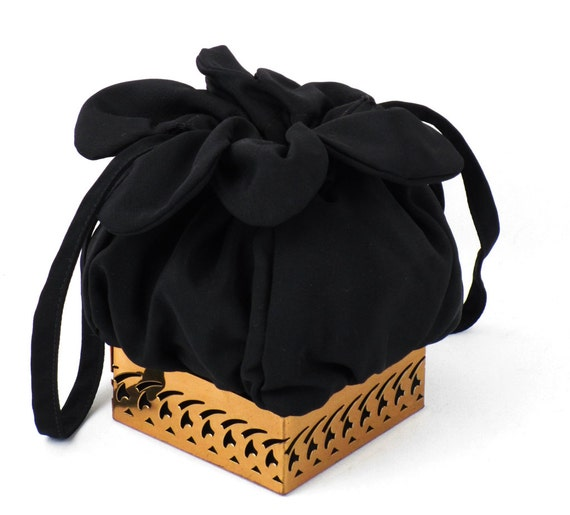 Retro Handbags, Purses, Wallets, Bags Vintage 1950s Handbag Black Twill Box Drawstring with Filigree Metal Base $78.00 AT vintagedancer.com