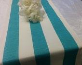 AQUA STRIPE RUNNER--aqua and white striped table runner nautical beach wedding Bridal, Decor, Baby's Room