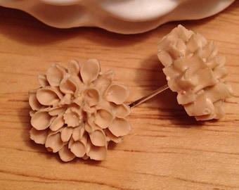 Tan flower post earrings
