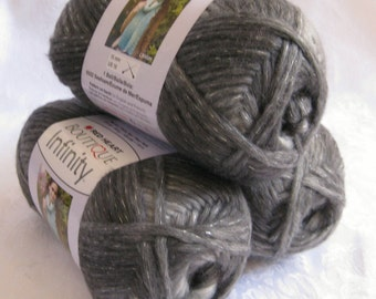 Boutique Infinity yarn in THUNDER,  shades of gray bulky weight yarn, Red Heart Boutique,  metallic