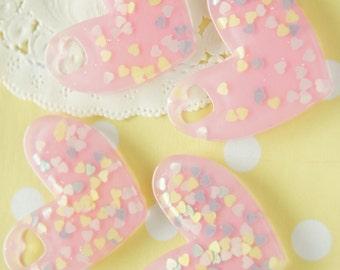 4 pcs Big Heart Charm/Plate/Cabochon (35mm40mm) DR297 Glitter Clear Light Pink