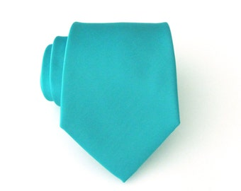 Mens Tie. Turquoise Tie.  Vibrant Turquoise French Green Necktie With Matching Pocket Square Option