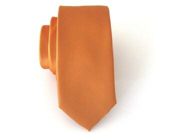 Skinny Tie -  Ochre Copper Yellow Skinny Necktie