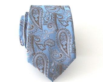 Mens Tie Blue and Light Brown Paisley Mens Necktie