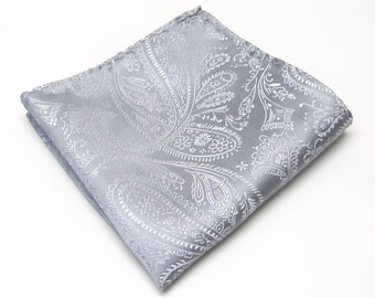 Pocket Squares Silk Silver Gray Paisley Hankies