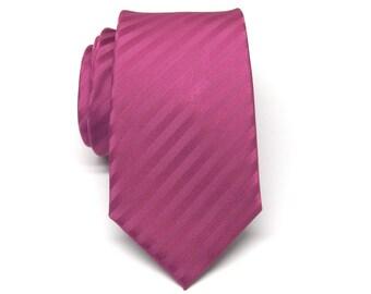 Mens Tie. Skinny Tie. Raspberry Fuchsia Stripes Skinny Necktie