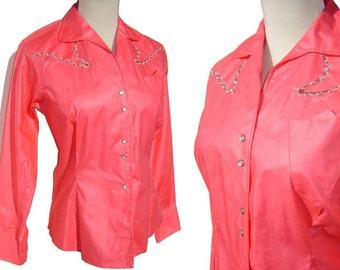 Vintage Pink Western Shirt Karman Ladies 50s Rodeo Rockabilly Pearl Snaps M