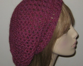 Alpaca Slouchy Beret Tam in Mixed Berry