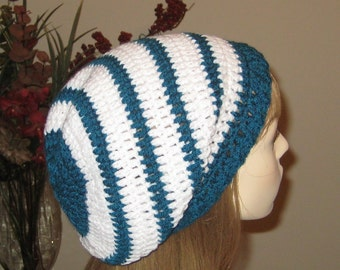 Teal and White Slouchy Beanie Dread Tam Hat