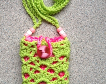 Phone cosy and bag - lime green and pink