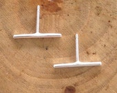 Handmade Bar Sterling Silver Studs Post Earrings Recycled