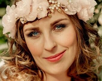 WEDDING HEADBAND  Bridal floral crown ELSIE , gold, Swarovski crystals, cherry blossoms,  flowers, made to order