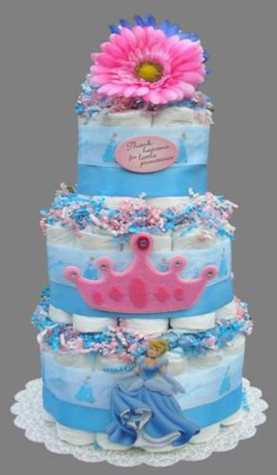 Disney Princess Diaper Cake Cinderella Baby Shower Girl