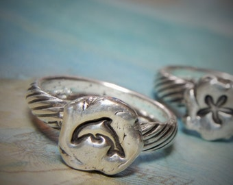 Beach Jewelry, Tiny Beach Ring, Sterling Silver Beach Jewelry, Tiny Nautical Ring, Dolphin Ring Sizes 4 5 6 7 8 9 10 11 12 13