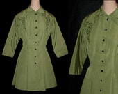 Vintage 40s 50s Olive Fit & Flare Faille Jacket S