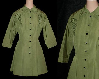 Vintage 40s 50s Olive Green Fit & Flare Faille Jacket S