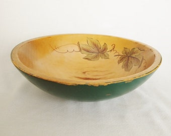 vintage wood salad bowl painted green with leaves