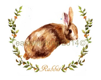 WOODLAND Bunny Print, woodland nursery art