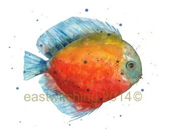 Original discus fish Watercolor, Fisherman gift
