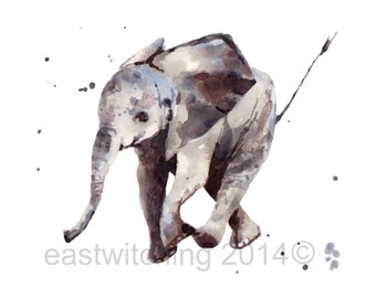 ELEPHANT Art Print, Elephant painting, nursery art