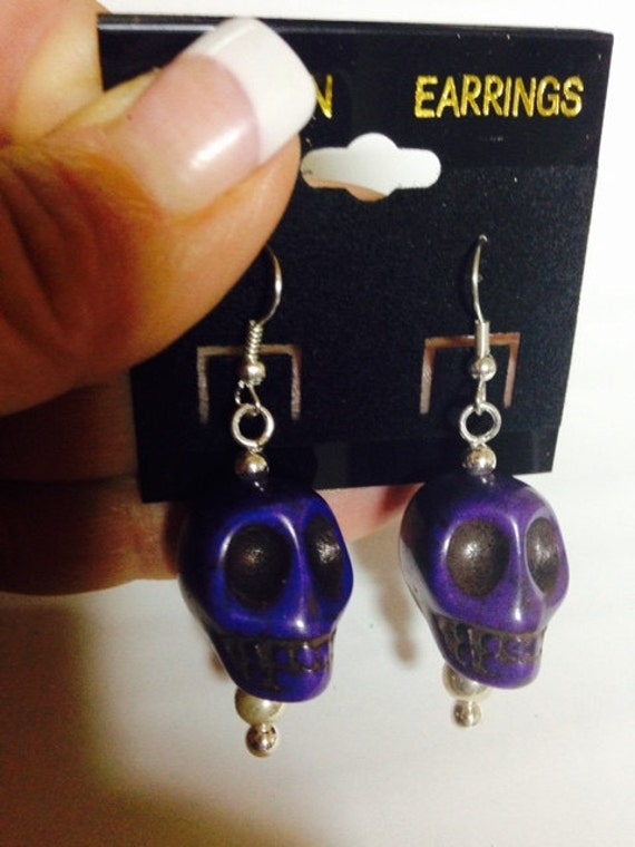Purple Statement Day of the Dead Sugar Skull Earrings