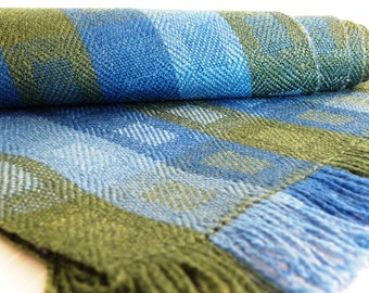 Handwoven Scarf - Window Panes in Blue Green, Merino Wool, Silk by Frederick Avenue