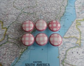 SALE! 6 pink/white check pattern round porcelain knobs set #1