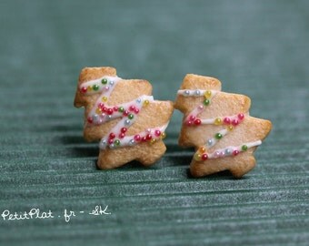 Christmas Tree Earrings - Xmas Cookie / Biscuit - Polymer Clay Miniature Food