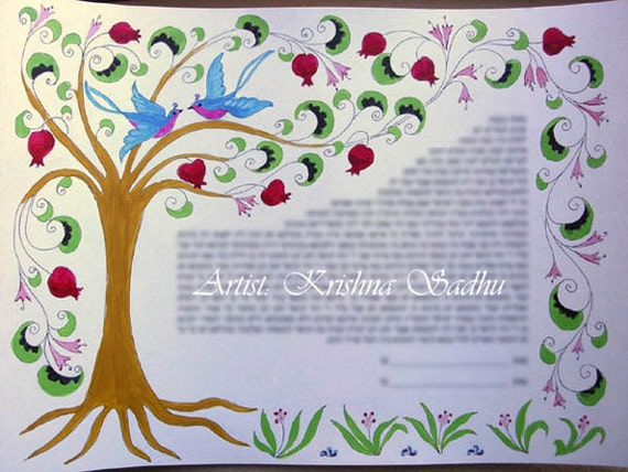 Wedding Certificate or Ketubah with Hand Painted Tree of Life - Made to order