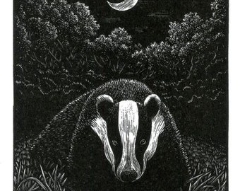"Engraving: ""Moonlight Ambling"" (Badger)"