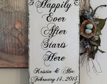 HAPPILY EVER AFTER Starts Here - Personalized -  Shabby Wedding Signs - 24 x 12
