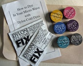 DESTASH 6 tins of DYLON COLD dye and 2 fixative packages - works with cotton, silk, linen and viscose rayon and natural fibers.