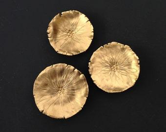 SALE Wall sculpture artwork - Three Golden Graces - Porcelain wall art Gold porcelain 3D flowers Modern home decor Opulent wall decor