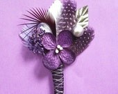RESERVED for Latanya Pigford, Set of 6 Purple and Silver Boutonnieres